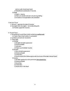 Human Tissues - Anatomy & Physiology Outline and Handout