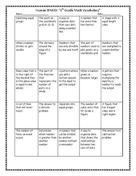 Human Vocabulary Bingo (5th grade math)