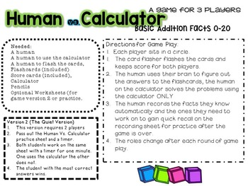Human Vs, Calculator Addition facts to 20 edition