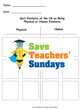 Human and Physical Features of the UK Lesson plan, PowerPoint and Worksheets