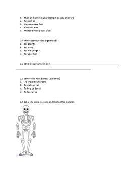 Human body multiple choice test