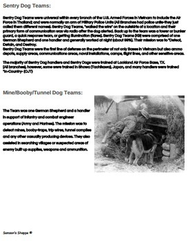 Military Working Dogs Worksheet for a Humane Education Service Learning Unit