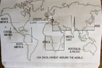 USA Involvement Around the World Map