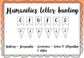 Humanities bulletin board letters / black and white letter bunting