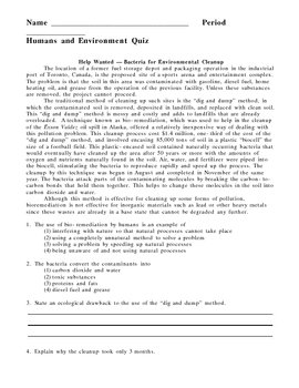 Humans and Environment - Ecology Quiz