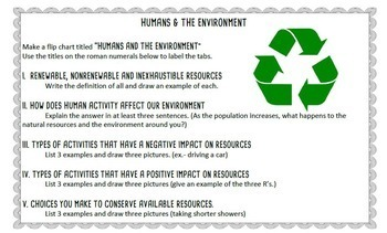 Humans and the Environment Flip Chart