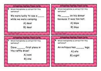 Homophones Multiple Choice Task Cards
