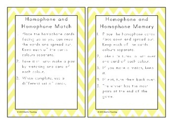Homophones Word Cards and Activities/Games