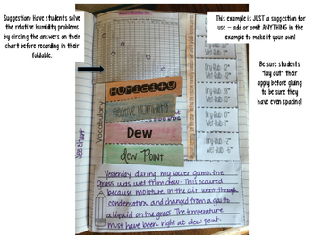 Humidity and Dew Point Reading Comprehension Interactive Notebook