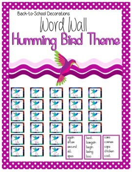 Humming Bird Themed Editable Word Wall