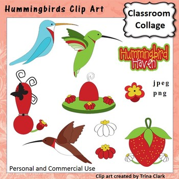 Hummingbird Clip Art - color - personal & commercial use