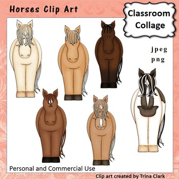 Horses Clip Art - color - personal & commercial use