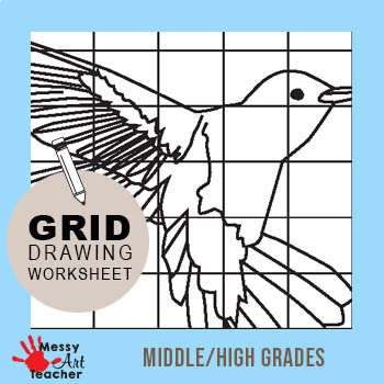 Hummingbird Grid Drawing Worksheet for Middle/High Grades