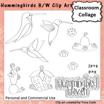Hummingbirds Clip Art - b/w line drawing - personal & commercial use