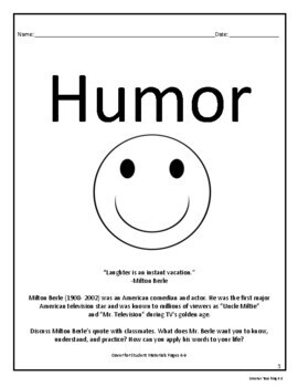 Humor Book Study And Book Report