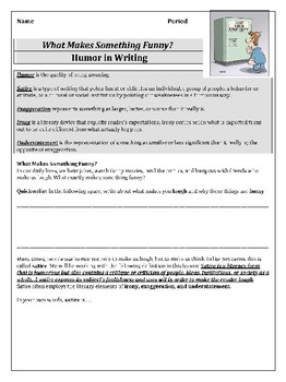Humor in Writing Lesson