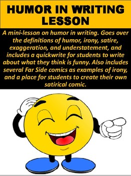 Humor In Writing Lesson By Mz S English Teacher Tpt
