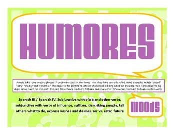 Humores (Moods) Board Game Cards NO PREP