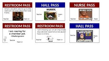 Humorous Hall Passes