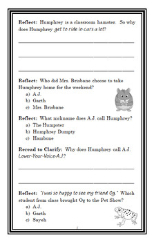 Humphrey's Pet Show Panic (Betty G. Birney) Novel Study / Comprehension (22 pgs)