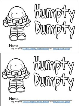 Humpty Dumpty Book, Poster, and MORE - Preschool Kindergarten Nursery Rhymes