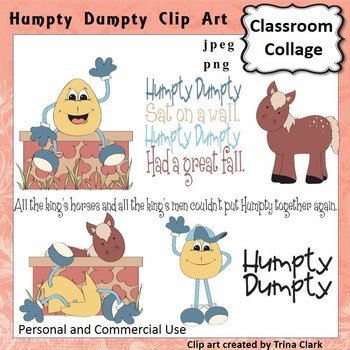 Humpty Dumpty Clip Art - Color - pers & comm Nursery Rhyme