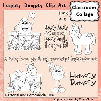 Humpty Dumpty Clip Art - line drawing - pers & comm Nursery Rhyme T. Clark