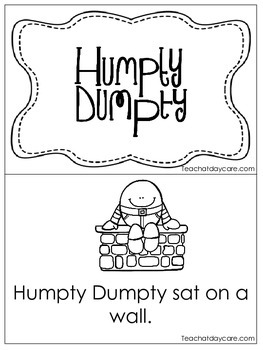Humpty Dumpty Early Emergent Reader. Pre-K and Kindergarten Reading.