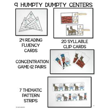 Humpty Dumpty Nursery Rhyme Literacy Centers for Emergent Readers