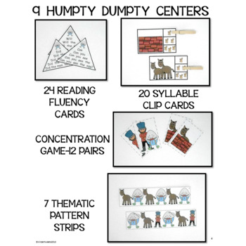 Humpty Dumpty Nursery Rhyme Literacy Centers for Emergent Readers
