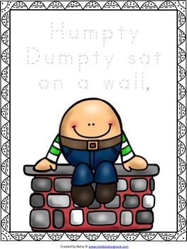 Humpty Dumpty Nursery Rhyme Activity Packet