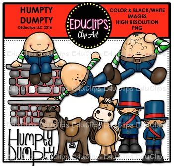 Humpty Dumpty Nursery Rhyme Clip Art Bundle {Educlips Clipart}