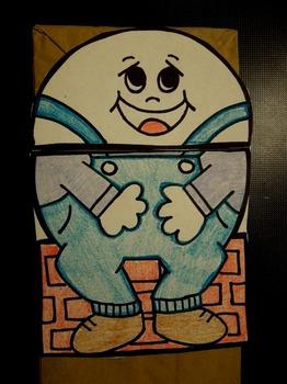 Humpty Dumpty Nursery Rhyme paper bag puppet