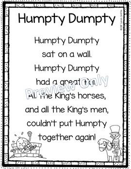 Humpty Dumpty - Printable Nursery Rhyme Poem for Kids