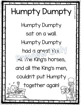 graphic about Humpty Dumpty Printable named Humpty Dumpty - Printable Nursery Rhyme Poem for Children