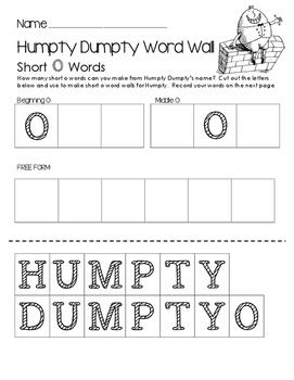 Humpty Dumpty Word Wall - Build Short O Words