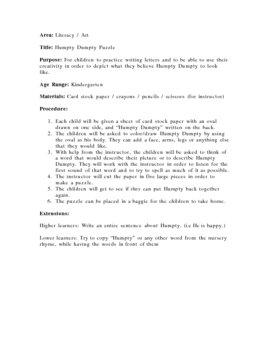 Humpty Dumpty Writing/Puzzle Activity - Kindergarten