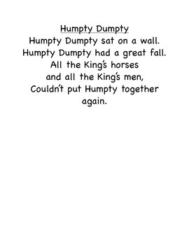 Humpty Dumpty- fun science and ELA lessons