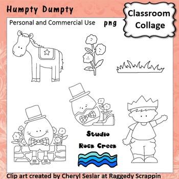 Humpty Dumpty line drawings pers/com nursery rhyme C Seslar