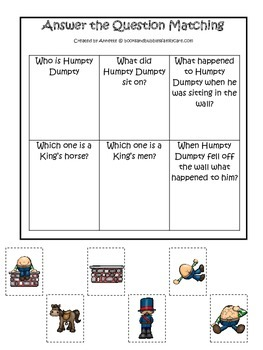 Humpty Dumpty themed Answer the Question printable game.  Preschool activity.