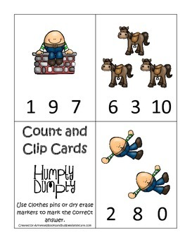 Humpty Dumpty themed Count and Clip Cards child math curriculum.