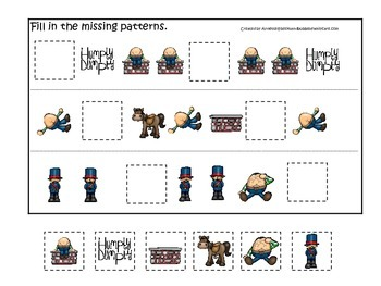Humpty Dumpty themed Fill in the Missing Pattern preschool printable game.