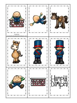 Humpty Dumpty themed Memory Matching preschool curriculum game. Daycare