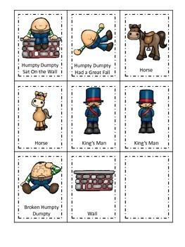 Humpty Dumpty themed Three Part Matching preschool printable activity.