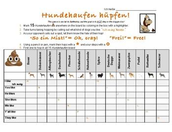Hundehaufen hüpfen (MÖGEN verb activity using German dog breeds.)