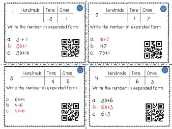 Hunderds, Tens, and Ones - Expanded form (QR Codes)