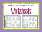 Hundred Board 1 More, 1 Less, 10 More, 10 Less Worksheets