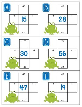 Hundred Board Scoot Activity ~ 1 More, 1 Less, 10 More, 10 Less