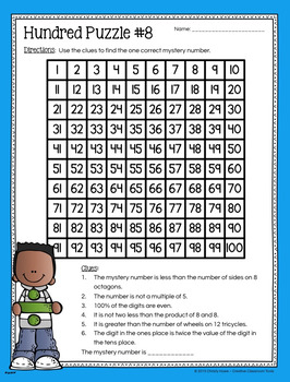 Hundred Board Number Puzzles! Math Enrichment Activities (3rd grade)