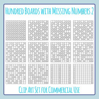 Hundred Boards with Missing Numbers 2 Clip Art Set for Com